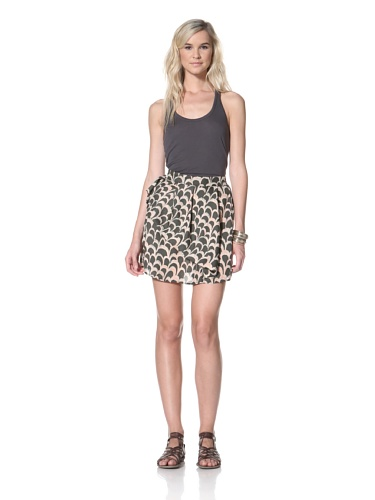 TBags Los Angeles Women's Tiered Skirt (Black Print)
