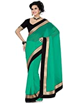 Utsav Fashion Women's Teal Green Faux Georgette Saree with Blouse