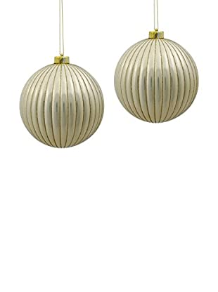 Winward Set of 2 Handcrafted Gatsby Ribbed Ornaments, Platinum Gold