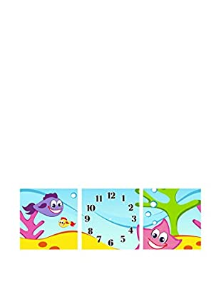 Ambiance Live Wandtattoo Sea world clock decal in 3 parts mehrfarbig