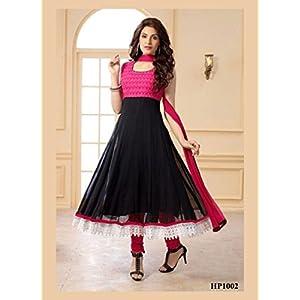 Klamotten Womens Net Anarkali Dress Material (Ace-K-Ss1060-1401 _Black And Pink _Free Size)
