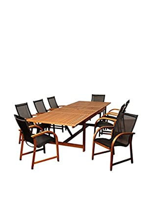 Amazonia Franklin 9-Piece Eucalyptus Extendable Rectangular Dining Set, Brown