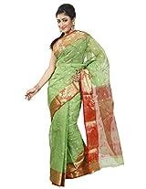 B3Fashion Traditional Bengal Handloom Cotton Tant/Tangail Green coloured saree