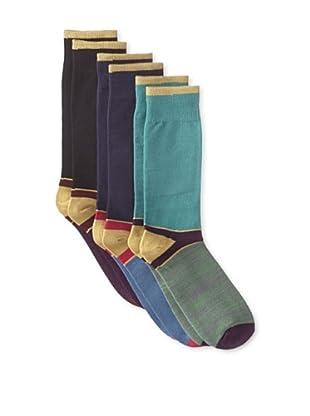 Florsheim by Duckie Brown Men's Colorblock Socks - 3 Pack (Assorted)