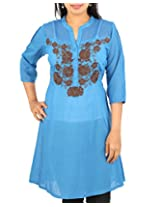 ARCLINES Women's Silk Cotton Regular Fit Kurti(cc12132315_xxxxl,xxxxl,blue)