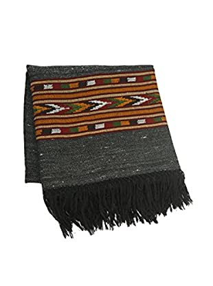 Kullu Hand-Loomed Throw, Charcoal/Orange/Green