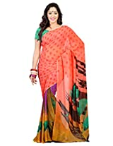 Admyrin Salmon Georgette Printed Saree with Green Blouse Piece