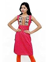 Charu Boutique Women's Faminine Traditional Cotton kurti (Dark Pink_M)
