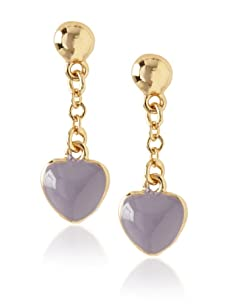 Frida Girl Purple Enamel Hanging Heart Earrings