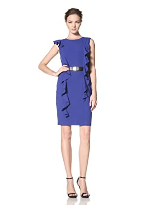 Calvin Klein Women's Dress with Long Ruffle Detail and Belt (Atlantis)