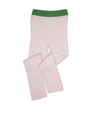 kicokids Girl's Ribbed Cotton Leggings (Potpouri/Grass)