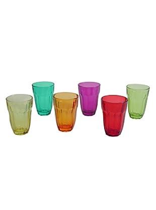 Pasabahce Vassoio 6 Bicchieri Acqua Baroque Multicolore
