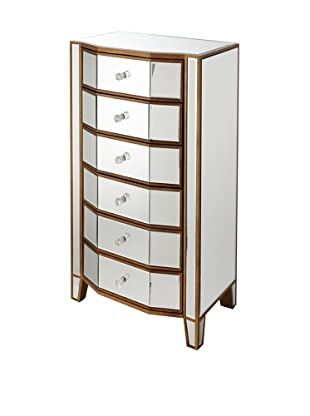 Scarlett Multi-Drawer Mirror-Detailed Side Cabinet, Silver/Bronze