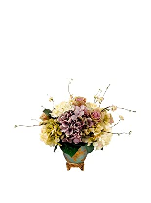 Creative Displays Cream, Lavender, & Green Hydrangea & Rose Floral in Oriental Vase, 24x31x24