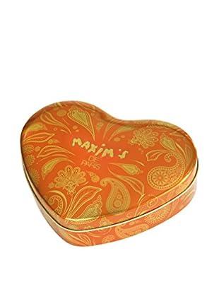 Maxim's de Paris Gold Heart Tin with 18 Almond & Honey Milk Chocolates