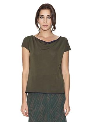 SIYU Camiseta Knit Lisos Manga Corta (Caqui)