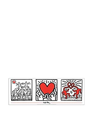 Artopweb Panel Decorativo Haring Untitled 33x95 cm Bordo Nero