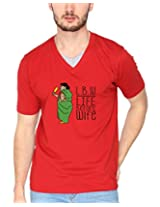 Campus Sutra Red Double V Neck Tshirt LBW