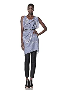 L.A.M.B. Women's Asymmetrical Tunic with Sequins (Light Blue/Snow White)