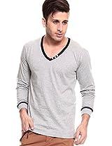 Solid Grey V Neck T-Shirt