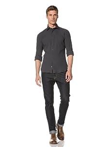 Orian Men's Minicheck Shirt (Blue/Grey)