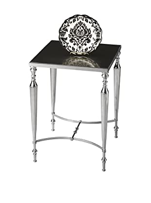 Butler Specialty Company Polished Aluminum and Black Mirror Side Table