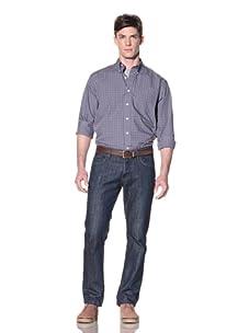 Nautica Men's Non-Iron Plaid Button-Down Shirt (Grey)