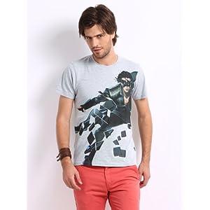Myntra Men Grey Melange Krrish 3 Printed T-shirt
