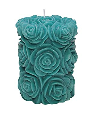 Volcanica Flora Small Pillar Candle, Turquoise