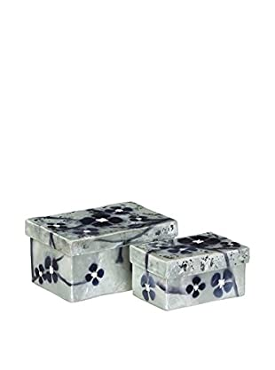 Oriental Set Caja de Almacenamiento 2 Uds. Flores Nácar Azul