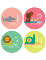 Lucy Darling Shop Monthly Baby Stickers - Baby Girl - Zoo Animals - Months 1-12