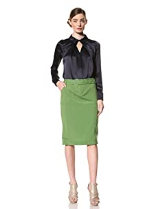 Magaschoni Women's Stretch Skirt with Belt (Jade)