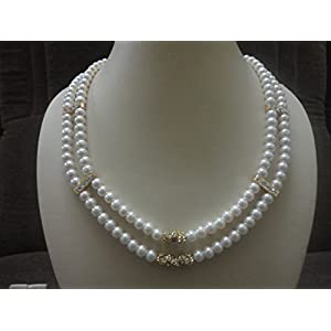 Mona Jewels Two Stringed Pearl Necklace With Earrings