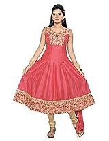 Charu Boutique Women's Cotton Printed Anarkali Suit(Pink_M)