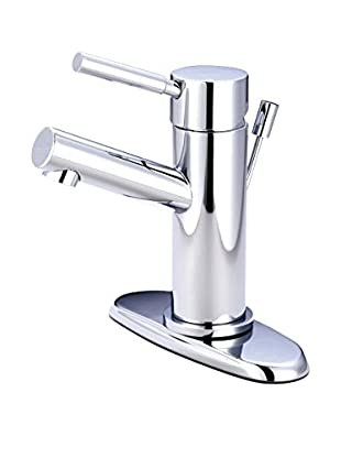 Kingston Brass Lavatory Faucet With Brass Pop Up & Plate, Polished Chrome