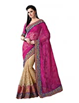 De Marca Pink Net Festive Wear 7109 Saree