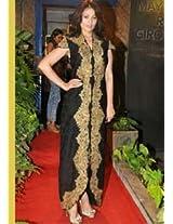 Ethnic Trend Raw Silk Bollywood Replica Dress - 1029 (Black/Gold)