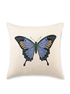 """D.L. Rhein Butterfly I Embroidered Pillow, Blue, 16"""" x 16"""""""