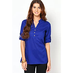 3/4Th Sleeve Blue Solid Tunic