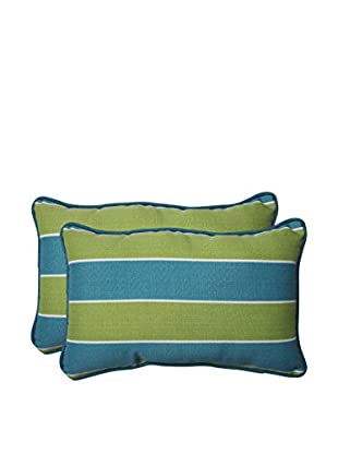Pillow Perfect Set of 2 Indoor/Outdoor Wickenburg Teal Lumbar Pillows, Green