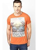 Orange Printed Slub Jersey Round Neck T Shirt