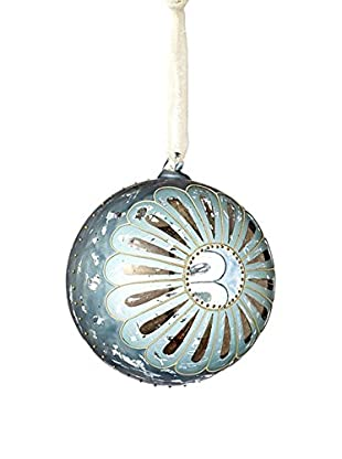 Sage & Co. Aqua Hand-Painted Glass Ball Ornament