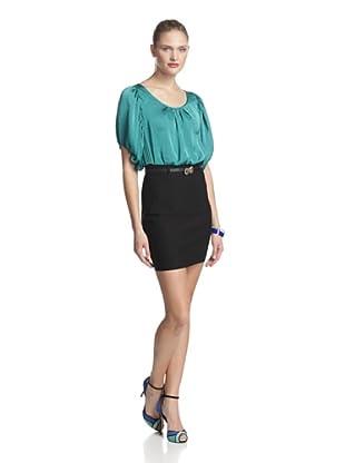 Must Have Women's Blouson Top Two-Tone Dress (Green/Black)
