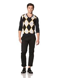 Pringle of Scotland Men's V-Neck Long Sleeve Argyle Knit (Navy/Dark Cheddar)