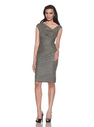 Lela Rose Women's V-Neck Dress with Side Ruched Panel (Olive)