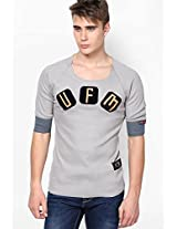Printed Light Blue Round Neck T-Shirt