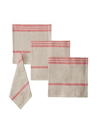 Found Object Marseille Set of 4 Linen/Cotton Napkins, Khaki/Red