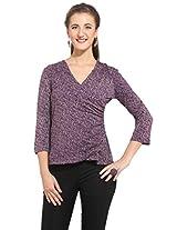 Purys Women's Printed Top (E-150682SP5977_Purple _L)