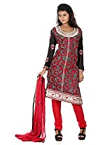B3Fashion semi stitched silk party wear designer salwar suit with full body heavy embroidery work and neck line with georgette embroidered full sleeves with inner lining , red dupion bottom, and red chiffon embroidered and laced dupatta