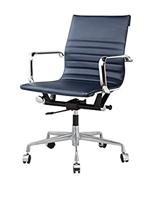 Meelano Office Chair In Faux Leather, Navy Blue